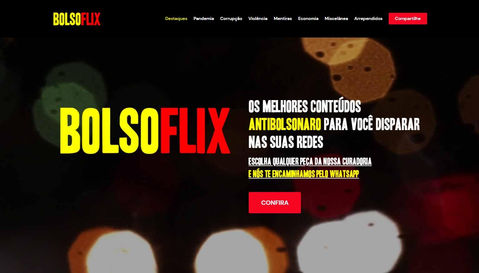 Grupo anônimo lança 'Bolsoflix', plataforma de vídeos contra Bolsonaro